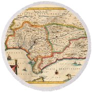 Map Of Andalusia 1650 Round Beach Towel by Andrew Fare