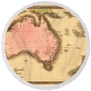 Map Of Australia 1840 Round Beach Towel by Andrew Fare