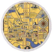 Map Of Baltimore - Vintage Illustrated Map - Historical Map - Cartography Round Beach Towel
