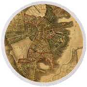 Map Of Boston 1814 Round Beach Towel by Andrew Fare