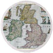 Map Of Britain Round Beach Towel