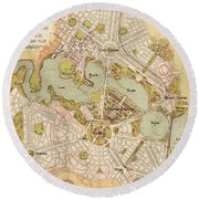 Map Of Canberra 1913 Round Beach Towel by Andrew Fare