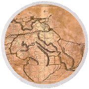 Map Of Caracas 1814 Round Beach Towel by Andrew Fare