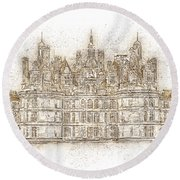 Map Of The Castle Chambord Round Beach Towel
