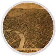 Map Of Columbus Ohio Vintage Street Schematic Birds Eye View On Worn Parchment Round Beach Towel
