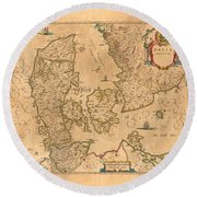 Map Of Denmark 1645 Round Beach Towel by Andrew Fare