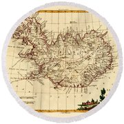 Map Of Iceland 1791 Round Beach Towel by Andrew Fare