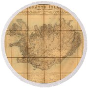 Map Of Iceland 1849 Round Beach Towel by Andrew Fare