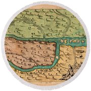 Map Of Iraq 1680 Round Beach Towel by Andrew Fare