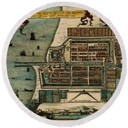 Map Of Java 1669 Round Beach Towel by Andrew Fare