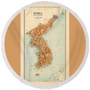 Map Of Korea 1903 Round Beach Towel by Andrew Fare