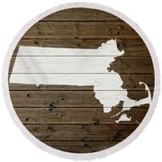 Map Of Massachusetts State Outline White Distressed Paint On Reclaimed Wood Planks Round Beach Towel