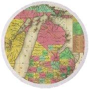 Map Of Michigan 1836 Round Beach Towel