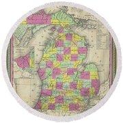 Map Of Michigan 1853 Round Beach Towel
