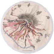 Map Of Mount Vesuvius - Pompeii, Italy - Volcano - Antique Geological Map Round Beach Towel