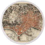 Map Of Naples 1860 Round Beach Towel by Andrew Fare