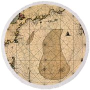 Map Of New England 1700 Round Beach Towel by Andrew Fare