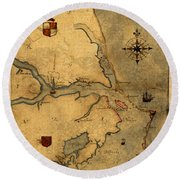 Map Of Outer Banks Vintage Coastal Handrawn Schematic On Parchment Circa 1585 Round Beach Towel