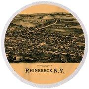 Map Of Rhinebeck 1890 Round Beach Towel