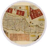 Map Of Saint Croix 1755 Round Beach Towel