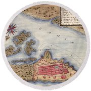 Map Of San Juan 1770 Round Beach Towel by Andrew Fare