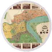 Map Of Shanghai 1908 Round Beach Towel by Andrew Fare