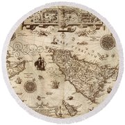 Map Of Sicily 1594 Round Beach Towel by Andrew Fare