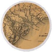 Map Of St Helena Sound 1881 Round Beach Towel