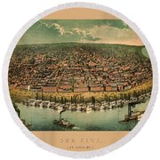 Map Of St. Louis 1859 Round Beach Towel