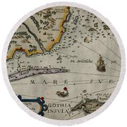 Map Of Sweden 1606 Round Beach Towel by Andrew Fare