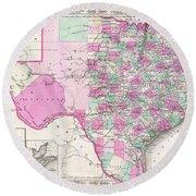 Map Of Texas 1866 Round Beach Towel