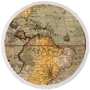 Map Of The Americas 1570 Round Beach Towel by Andrew Fare