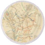 Map Of The Battle Of Nashville - American Civil War Round Beach Towel