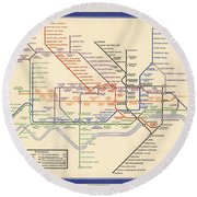 Map Of The London Underground - London Metro - 1933 - Historical Map Round Beach Towel