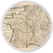 Map Of The Rivers Of France - Historic Map Of France - Antique Maps Round Beach Towel
