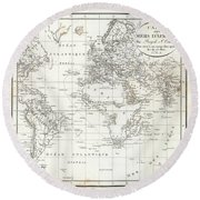 Round Beach Towel featuring the drawing Map Of The Voyage To Explore Islands In The Seas Of Africa by J B Bory de Saint-Vincent