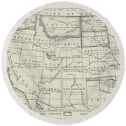 Map Of The Western States Of America Round Beach Towel