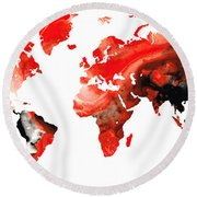 Map Of The World 10 -colorful Abstract Art Round Beach Towel by Sharon Cummings