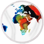 Map Of The World 3 -colorful Abstract Art Round Beach Towel by Sharon Cummings