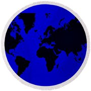 Round Beach Towel featuring the photograph Map Of The World Blue by Rob Hans
