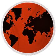 Round Beach Towel featuring the photograph Map Of The World Copper by Rob Hans
