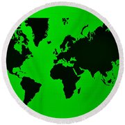 Round Beach Towel featuring the photograph Map Of The World Green by Rob Hans