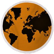 Round Beach Towel featuring the photograph Map Of The World Orange by Rob Hans