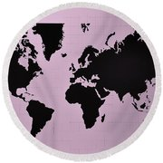 Round Beach Towel featuring the photograph Map Of The World Pink by Rob Hans