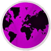 Round Beach Towel featuring the photograph Map Of The World Purple by Rob Hans