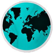 Round Beach Towel featuring the photograph Map Of The World Turquoise by Rob Hans