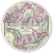 Map Of Upper And Lower Canada 1862 Round Beach Towel