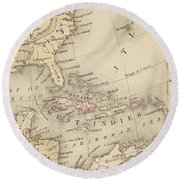 Map Round Beach Towel