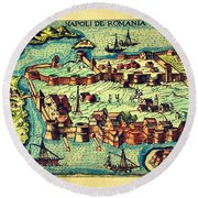 Map Seaport Round Beach Towel