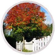 Maple And Picket Fence Round Beach Towel